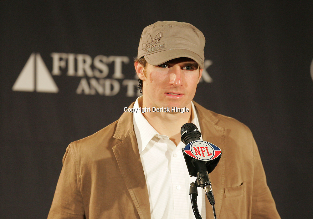16 January 2010:  New Orleans Saints quarterback Drew Brees speaks to the media following a 45-14 win by the New Orleans Saints over the Arizona Cardinals in a 2010 NFC Divisional Playoff game at the Louisiana Superdome in New Orleans, Louisiana.