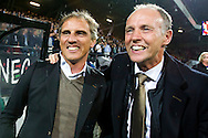 NIJMEGEN, NEC Nijmegen - SC Heerenveen, voetbal Eredivisie, seizoen 2013-2014, 25-10-2013, Stadion de Goffert, NEC coach Anton Janssen (L) is blij met de overwinning.