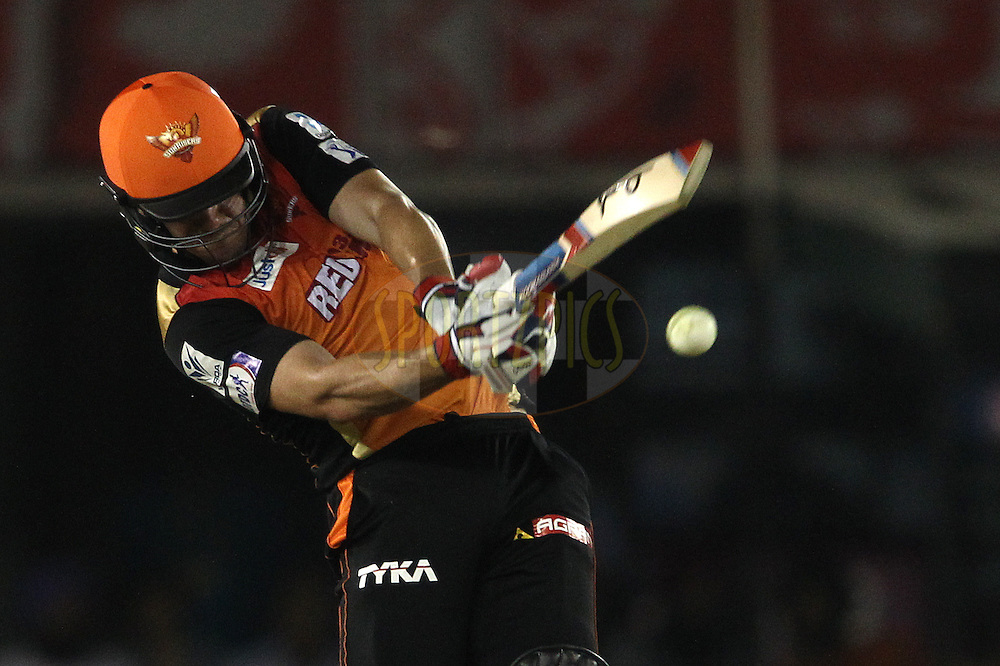 Moises Henriques of Sunrisers Hyderabad hits over the top during match 27 of the Pepsi IPL 2015 (Indian Premier League) between The Kings XI Punjab and The Sunrisers Hyderabad held at the Punjab Cricket Association Stadium in Mohali, India on the 27th April 2015.<br /> <br /> Photo by:  Shaun Roy / SPORTZPICS / IPL