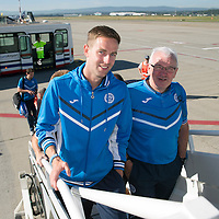 FC Luzern v St Johnstone...18.07.14  Europa League 2nd Round Qualifier<br /> Goal scorer Steven MacLean boards the plane back to Edinburgh with kitman Tommy Campbell<br /> Picture by Graeme Hart.<br /> Copyright Perthshire Picture Agency<br /> Tel: 01738 623350  Mobile: 07990 594431
