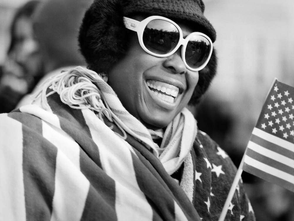 Crystal Johnson of Bowie, MD, on the National Mall in Washington, D.C., waiting for the inauguration of Barack Obama on January 20, 2009.