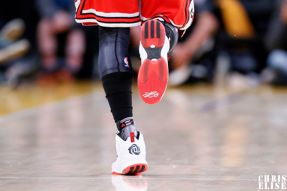 29 January 2015: Close view of Chicago Bulls guard Derrick Rose (1) Adidas D Rose 5 Boost shoes during the Los Angeles Lakers 123-118 2OT victory over the Chicago Bulls, at the Staples Center, Los Angeles, California, USA.
