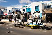 Surf shops in village of Caleta de Famara, Lanzarote, Canary islands, Spain