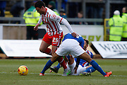 Stevenage FC Defender Ronnie Henry battles for the ball during the Sky Bet League 2 match between Carlisle United and Stevenage at Brunton Park, Carlisle, England on 20 February 2016. Photo by Craig McAllister.