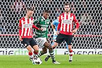EINDHOVEN - PSV - Sparta Rotterdam , Voetbal , Eredivisie , Seizoen 2016/2017 , Philips Stadion , 22-10-2016 , PSV speler Bart Ramselaar (l) in duel met Sparta speler Denzel Dumfries (r)