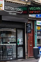 London's first totally vegan chippy in Hackney, North East London. Hackney, London, October 08 2018.