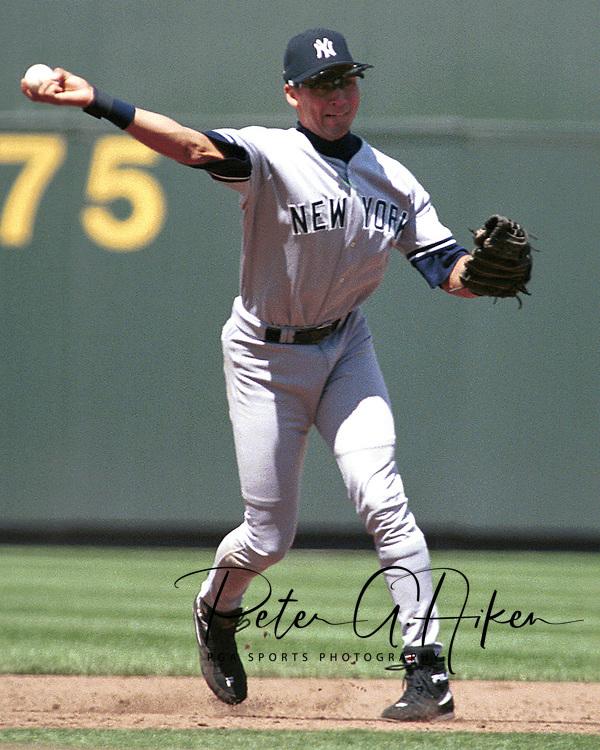 New York Yankee shortstop Derek Jeter throws the ball to first base against the Kansas City Royals at Kauffman Stadium in Kansas City, Missouri on May 4, 1997.