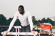June 2, 2015; Columbia, MD, USA; Olympic hopeful and 400m hurdler Adam Durham trains at Long Reach High School in Columbia, MD. Durham as of June 2, 2015 currently holds the fourth fastest time in the world for the 400m hurdles. Mandatory Credit: Brian Schneider-www.ebrianschneider.com
