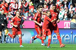 13.04.2013, Allianz Arena, Muenchen, GER, 1. FBL, FC Bayern Muenchen vs 1. FC Nuernberg, 29. Runde, im Bild Freude bei Jerome BOATENG (FC Bayern Muenchen), rechts, der von RAFINHA (FC Bayern Muenchen) umarmt wird. Hinten eilen Diego CONTENTO (FC Bayern Muenchen) und Xherdan SHAQIRI (FC Bayern Muenchen) heran um dem Toraschuetzen des 1:0 zu gratulieren // during the German Bundesliga 29th round match between FC Bayern Munich and 1. FC Nuernberg at the Allianz Arena, Munich, Germany on 2013/04/13. EXPA Pictures © 2013, PhotoCredit: EXPA/ Eibner/ Wolfgang Stuetzle..***** ATTENTION - OUT OF GER *****