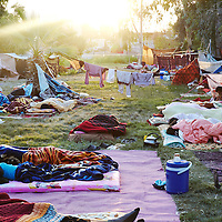 Syrian refugees sleep in Quashtapa Park in Quashtapa, Iraq outside of Erbil in Iraqi Kurdistan, Saturday, August 31, 2013.  Hundreds of Syrian refugees are temporarily living in the park.  August 2013.