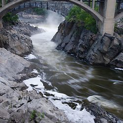 The Connecticut River as it flows over one of the dams in Bellows Falls, Vermont.