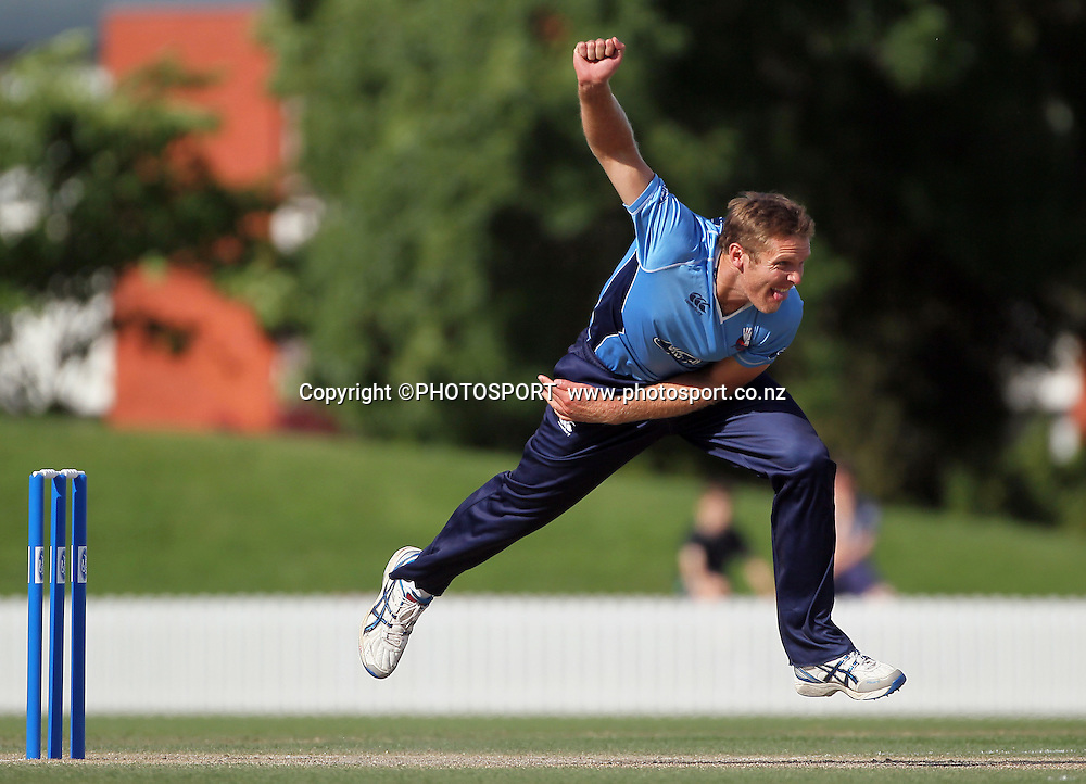 Michael Bates of Auckland bowling. Auckland Aces v Wellington Firebirds, Ford Trophy one day game held at Burt Sutcliffe Oval, Lincoln, Friday 25 November 2011. Photo : Joseph Johnson / photosport.co.nz