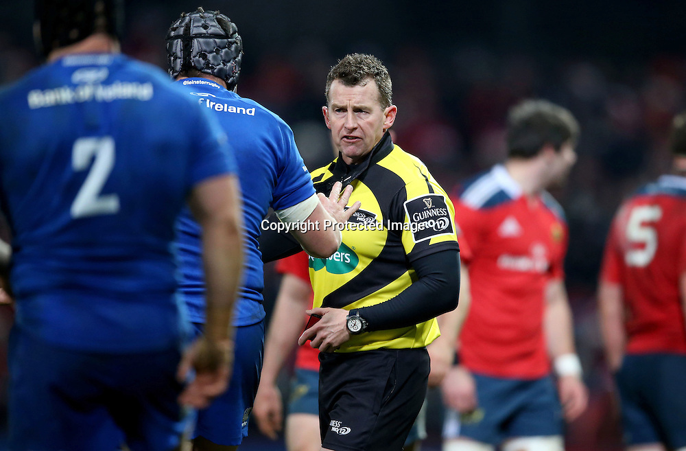 Guinness PRO12, Thomond Park, Limerick 26/12/2014<br /> Munster vs Leinster<br /> Referee Nigel Owens<br /> Mandatory Credit &copy;INPHO/Dan Sheridan
