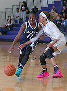 Imani Robinson (11) attempts to steal the ball from Diamond Caro (11) Saturday at Cedar Ridge Gym.  The Lady Raiders rolled over the Lady Mavs 84-39.  (LOURDES M SHOAF for Round Rock Leader.)