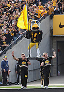 October 23 2010: Iowa mascot Herky takes the field before the start of the NCAA football game between the Wisconsin Badgers and the Iowa Hawkeyes at Kinnick Stadium in Iowa City, Iowa on Saturday October 23, 2010. Wisconsin defeated Iowa 31-30.