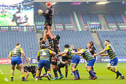 A clean lineout take by Grant Gilchrist during the European Rugby Challenge Cup match between Edinburgh Rugby and Cardiff Blues at BT Murrayfield Stadium, Edinburgh, Scotland on 31 March 2018. Picture by Kevin Murray.
