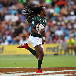 Action from the cup semifinal match between South Africa and Australia on day two of the 2018 HSBC World Sevens Series Hamilton at FMG Stadium in Hamilton, New Zealand on Sunday, 4 February 2018. Photo: Shane Wenzlick / lintottphoto.co.nz