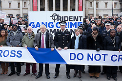© Licensed to London News Pictures. 08/02/2012. LONDON, UK. Metropolitan Police Service commissioner Bernard Hogan Howe and Mayor of London Boris Johnson are seen at an Operation Trident press call at Trafalgar Square in London today (08/02/12). Operation Trident, is a Metropolitan Police Service initiative set up to focus on gang and black on black crime. Photo credit: Matt Cetti-Roberts/LNP