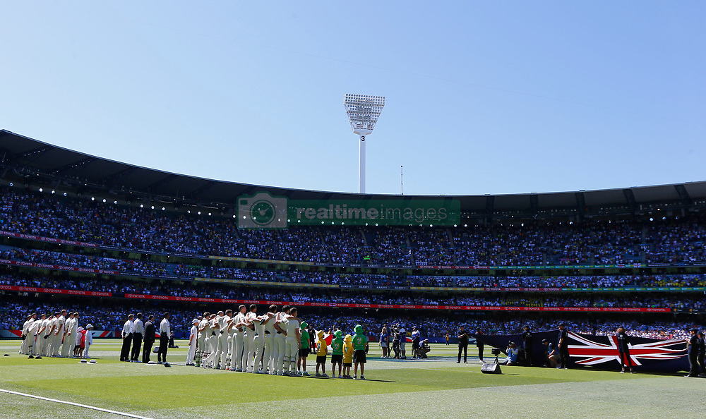 General view during the anthems during day one of the Ashes Test match at the Melbourne Circket Ground, Melbourne.
