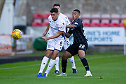 2nd Aug 2019, East End Park, Dunfermline, Fife, Scotland, Scottish Championship football, Dunfermline Athletic versus Dundee;  Shaun Byrne of Dundee and Josh Coley of Dunfermline Athletic