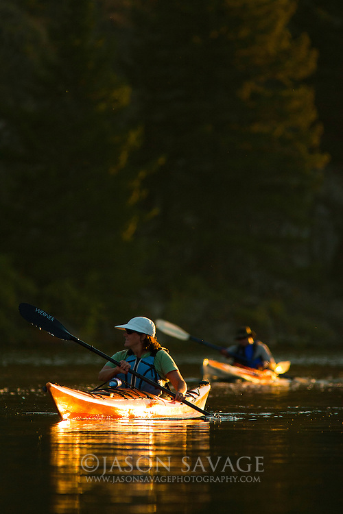 Paddling on the Missouri River, Montana.