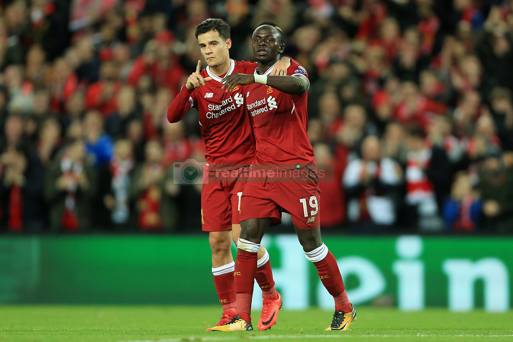6th December 2017 - UEFA Champions League - Group E - Liverpool v Spartak Moscow - Philippe Coutinho of Liverpool (L) and teammate Sadio Mane celebrate together - Photo: Simon Stacpoole / Offside.