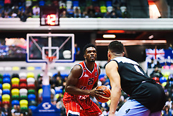 Marcus Delpeche of Bristol Flyers in action as Bristol Flyers play Surrey Sharks - Rogan/JMP - 14/10/2018 - BASKETBALL - Copper Box Arena - London, England - British Basketball All-Stars Championship 2018.