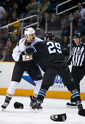January 21, 2010; San Jose, CA, USA; Anaheim Ducks right wing George Parros (16) fights with San Jose Sharks left wing Ryane Clowe (29) during the first period at HP Pavilion. San Jose defeated Anaheim 3-1. Mandatory Credit: Jason O. Watson / US PRESSWIRE