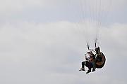 Israel, Sharon region, Netanya, Paragliding off the cliff of the promenade
