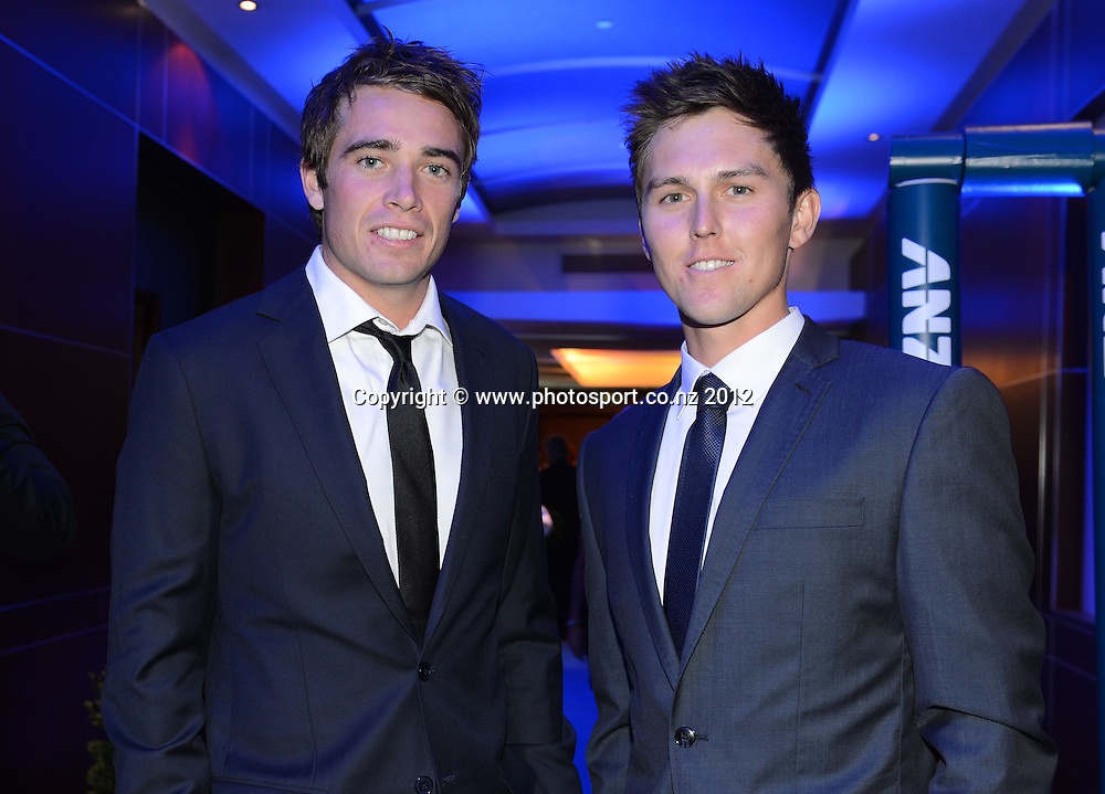 Cricket players Tim Southee and Trent Boult arrive at the Pullman Hotel for the 2012 ANZ New Zealand Cricket Awards. Auckland, Thursday 18 October 2012. Photo: Andrew Cornaga/Photosport.co.nz