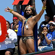Some Manu Samoa fans get excited and play a role, and some just sit behind and eat pretzels, assured that Samoa will prevail at the World Cup 7's USA, AT&T Park, San Francisco, California, USA.  Photo by Barry Markowitz, 7/20/18, 12pm