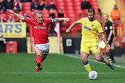 AFC Wimbledon defender George Francomb (7) taking on Charlton Athletic midfielder Chris Solly (20) during the EFL Sky Bet League 1 match between Charlton Athletic and AFC Wimbledon at The Valley, London, England on 28 October 2017. Photo by Matthew Redman.