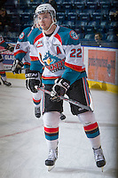 KELOWNA, CANADA - JANUARY 2: MacKenzie Johnston #22 of the Kelowna Rockets warms up on the ice against the  Victoria Royals at the Kelowna Rockets on January 2, 2013 at Prospera Place in Kelowna, British Columbia, Canada (Photo by Marissa Baecker/Shoot the Breeze) *** Local Caption ***