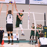 3rd year outside hitter Brennan Goski (13) of the Regina Cougars in action during Men's Volleyball home game on November 18 at Centre for Kinesiology, Health and Sport. Credit: /Arthur Images