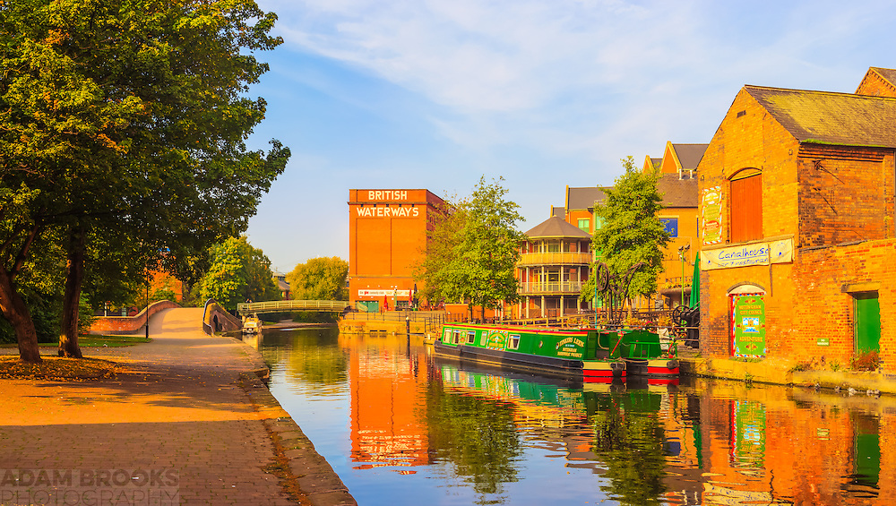 A peaceful scene overlooking the Nottingham-Beeston canal, the British Waterways building and the warehouse of carriers Fellows,<br /> Morton and Clayton, which has now been converted into a pub.