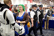 MCM Comic Con<br /> at ExCel London, Great Britain <br /> 28th May 2017 <br /> Police patrolling <br /> General atmosphere / people / faces <br /> <br /> Photograph by Elliott Franks <br /> Image licensed to Elliott Franks Photography Services