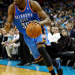 January 24,  2011; New Orleans, LA, USA; Oklahoma City Thunder small forward Kevin Durant (35) against the New Orleans Hornets during the third quarter at the New Orleans Arena. The Hornets defeated the Thunder 91-89. Mandatory Credit: Derick E. Hingle