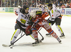 14.12.2014, Stadthalle, Klagenfurt, AUT, EBEL, EC KAC vs Dornbirner Eishockey Club, 27. Runde, im Bild Robert Lembacher (Dornbirner Eishockey Club, #81), Jamie Lundmark (EC KAC, #74), Martin Grabher-Meier (Dornbirner Eishockey Club, #91), Nathan Lawson (Dornbirner Eishockey Club, #52) // during the Erste Bank Icehockey League 27th round match betweeen EC KAC and Dornbirner Eishockey Club at the City Hall in Klagenfurt, Austria on 2014/12/14. EXPA Pictures © 2014, PhotoCredit: EXPA/ Gert Steinthaler