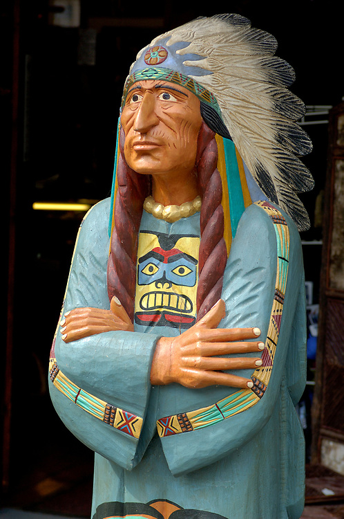 Wooden Indian Sculpture, Blue Mountain Outfitters, Blue Montain Lake, Adirondack Mountains, New York, United States of America