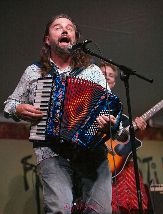 "Radoslav Lorkovic on accordion during the ""Walking Woody's Road"" tribute to the iconic folksinger Woody Guthrie at the Sisters Folk Festival."