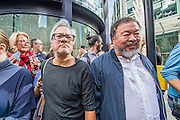 Both outside the old London Stock Exchange in the City - Anish Kapoor and Ai Weiwei go for a walk in London - The two artists have joined hands to walk out of London on Thursday. Each will carry a single blanket as a symbol of the need that faces 60 million refugees in the world today. The Artists have said that they welcome Londoners to join them along their route and ask that Londoners too bring a blanket in gesture of support. The artists will repeat this action in cities across the world over the next few months. The walk started at 10am on Thursday 17th September, at the Royal Academy of Arts passed: Piccadilly Circus; Trafalgar Square; Whitehall;  St Paul's Cathedral; Bank and ended up at Stratford.