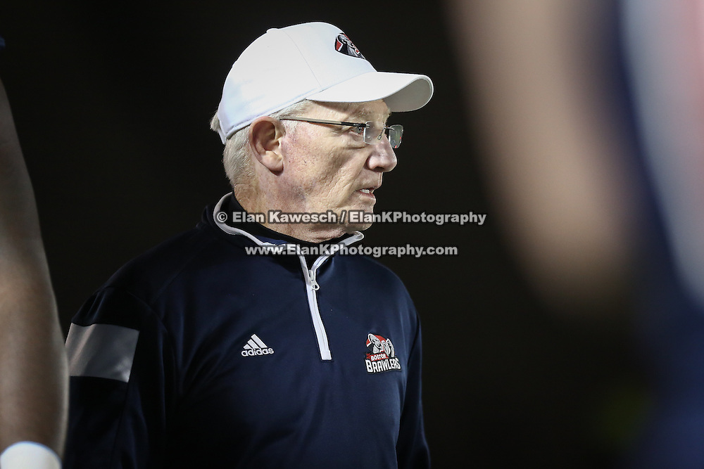 Head Coach Terry Shea of the Boston Brawlers is seen during the first ever Boston Brawlers home game at Harvard Stadium on October 24, 2014 in Boston, Massachusetts. (Photo by Elan Kawesch)