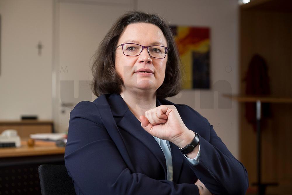 15 MAR 2018, BERLIN/GERMANY:<br /> Andrea Nahles, SPD Fraktionsvorsitzende, waehrend einem Interview, in ihrem Buero, Jakob-Kaiser-Haus, Deutscher Bundestag<br /> IMAGE: 20180315-01-010<br /> KEYWORDS: Büro