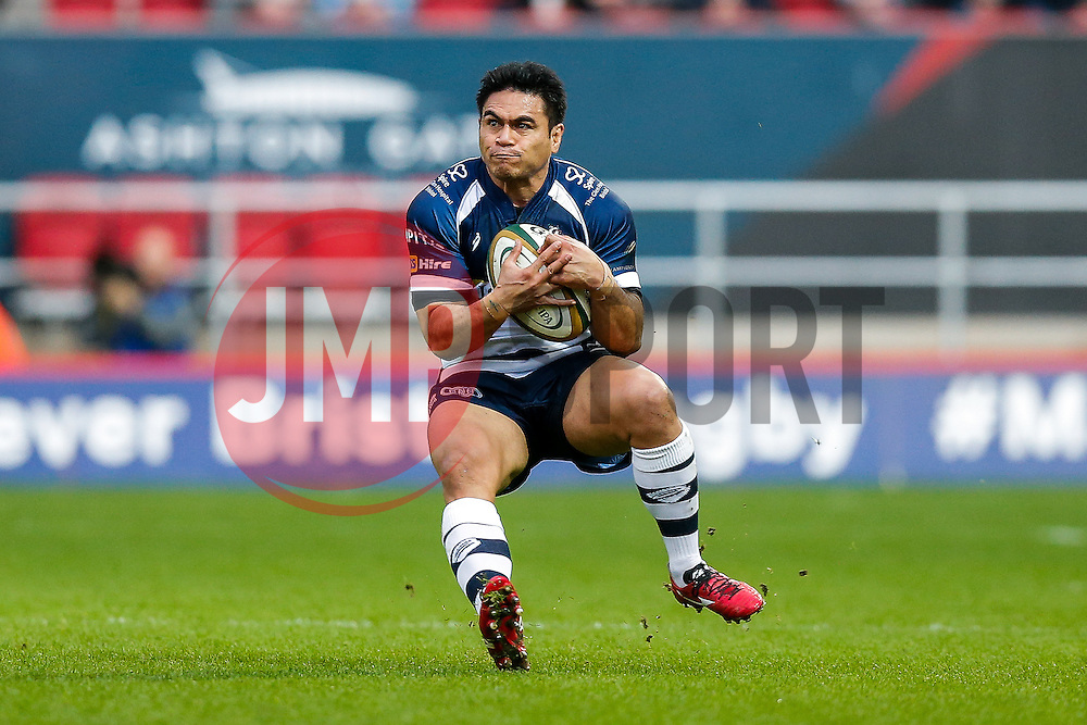 Bristol Rugby Winger David Lemi (capt) takes a high ball - Mandatory byline: Rogan Thomson/JMP - 27/12/2015 - RUGBY UNION - Ashton Gate Stadium - Bristol, England - Bristol Rugby v London Welsh - Greene King IPA Championship.
