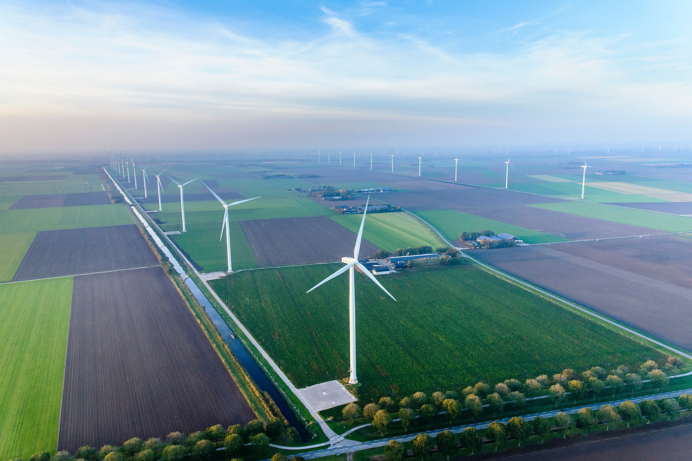 Nederland, Flevoland, Zeewolde, 28-10-2014; Windpark Eemmeerdijk. Windfarm Amalia.<br /> luchtfoto (toeslag op standaard tarieven);<br /> aerial photo (additional fee required);<br /> copyright© foto/photo Siebe Swart
