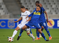 Cape Town-181002- Cape Town City's Matthew Rusike challenges Cole Alexander of Bidvest Wits in a PSL clash at Cape Town Stadium.Cape town City come to this game with high confidence after winning the MTN 8 cup over the weekend,while Wits will be fighting for the the top spot they have lost after some poor display in their last two games.Photographs:Phando Jikelo/African News Agency/ANA