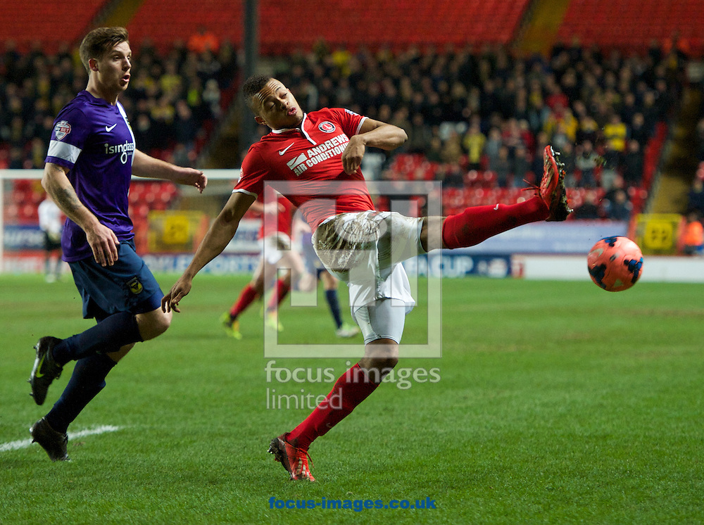 Picture by Alan Stanford/Focus Images Ltd +44 7915 056117<br /> 14/01/2014<br /> Jordan Cousins of Charlton Athletic clears the ball during the The FA Cup match at The Valley, London.