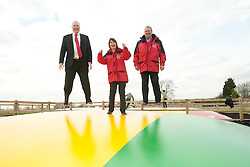 Pictured is, from left, Clydesdale Bank commercial relationship manager Michael Pickles and Rand Farm Park owners Kay and Richard Waring. They are trying out the Kangaroo Bouncers, which Clydesdale Bank have helped Rand Farm Park finance.<br /> <br /> Clydesdale Bank - Rand Farm Park<br /> <br /> March 27, 2015