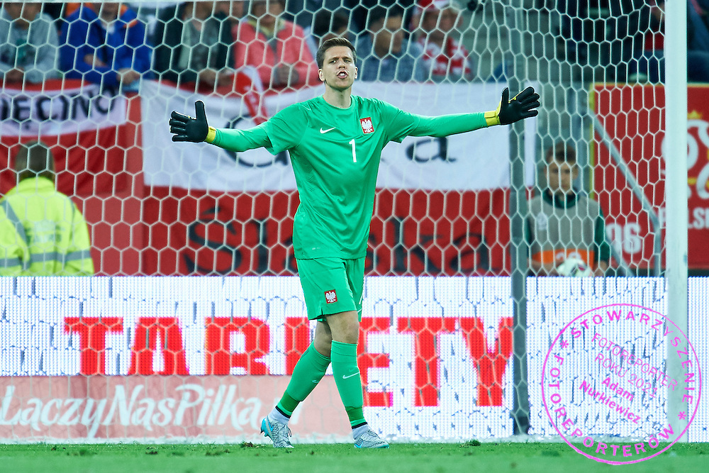 Goalkeeper Wojciech Szczesny from Poland gestures during international friendly soccer match between Poland and Greece at PGE Arena Stadium on June 16, 2015 in Gdansk, Poland.<br /> Poland, Gdansk, June 16, 2015<br /> <br /> Picture also available in RAW (NEF) or TIFF format on special request.<br /> <br /> For editorial use only. Any commercial or promotional use requires permission.<br /> <br /> Adam Nurkiewicz declares that he has no rights to the image of people at the photographs of his authorship.<br /> <br /> Mandatory credit:<br /> Photo by &copy; Adam Nurkiewicz / Mediasport