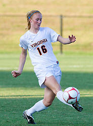 Virginia Cavaliers forward Maggie Kistner (16) passes the ball against Liberty.  The Virginia Cavaliers defeated the Liberty Flames 5-0 in women's soccer at Klockner Stadium on the Grounds of the University of Virginia in Charlottesville, VA on August 29, 2008.
